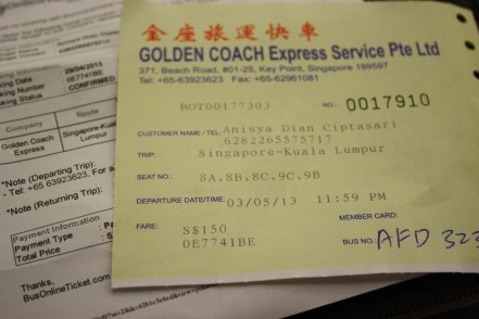 Tiket Bus Singapore-Kuala Lumpur buat Berlima..